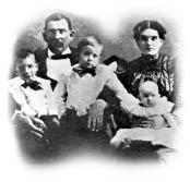 Dutch Mountain Ranch Founders - Aaron and Etta Moss are shown with their children (left to right) Luke, Mark, and Myrtle.